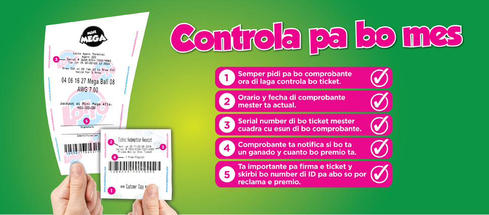 Controla bo ticket di Lotto 5, porta abo tin e ticket ganado!